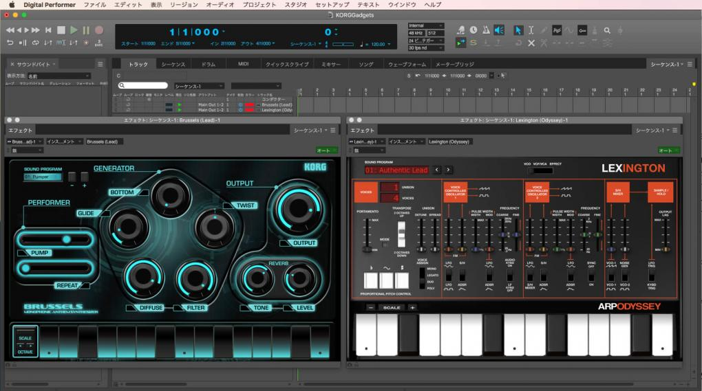 KORG Gadget for Mac on Digital Performer